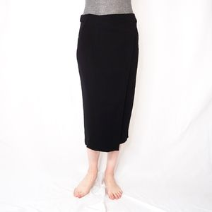 A.L.C. Black Belted Wrap Style Midi Skirt 8 0374